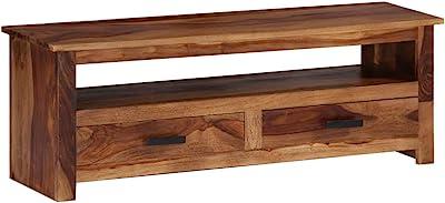 Vidaxl Sheeshamholz Massivholz Tv Schrank Mit 2 Schubladen Fach Fernsehschrank Fernsehtisch Sideboard Lowboard Tv Board Hifi Möbel 118x30x40 Cm Küche Haushalt