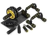 TOMSHOO 5-in-1 Fitness Workout Set - AB Wheel Roller Addominali +2 Maniglie per Flessioni + Corda per Saltare + Pinza Mano + Tappetino Fitness per Uomo/Donna Fitness