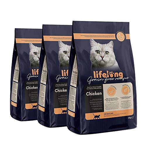 Marca Amazon Lifelong Alimento seco para gatos adultos con pllo fresco, receta sin cereales - 3kg *3