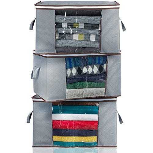 Jambo-Bana 3er-Set Aufbewahrungstasche, Auflagentasche, Faltbare mottensichere Kleideraufbewahrung mit durchsichtiges Fenster, 2-Edelstahl Reissverschlusse