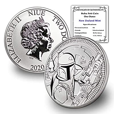 2020 NZ Niue 1 oz Silver Disney Star Wars Boba Fett Coin Brilliant Uncirculated w/Certificate of Authenticity by CoinFolio $2 BU