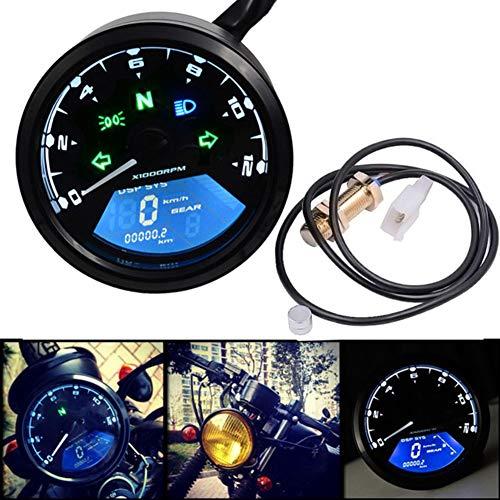 Lanceasy Odometer Motorrad, LCD-Digital-Motorrad-Tacho Universal-Entfernungsmesser-Motorrad Backlit Tachometer Mph