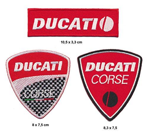 Ducati Aufnäher Aufbügler Patch 3 Stück Motorrad Biker Italien TURBOVERSAND