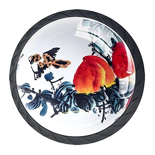 BestIdeas Okrągłe gałki do szuflad 4 opakowania 30 mm uchwyty do ciągnięcia kwiatowy atrament obraz kwiat białe nadruki używane do sypialni komoda szafka drzwi kuchenne