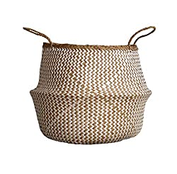 Plush Woven Seagrass Tote Belly Basket for Storage