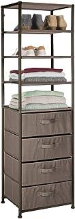 mDesign étagère rangement – meuble tiroir à quatre étages et 4 tiroirs en tissu – commode tiroirs en métal pratique pour l...
