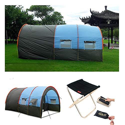 8-10 Personne Camping Camping Tunnel Tent, 100% imperméable Couche One Bedroom Deux Salon pour Pique-Nique en Plein air Camping Survie Facile Assemblage
