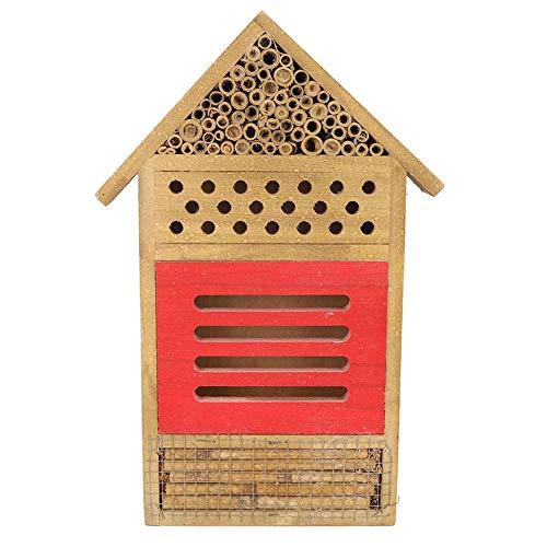 Insectenhuis, insectenhuis, hout, insectenhuis, hout, hotel, tuindecoratie, nestje, insectenkast, hout, voor bijen, vlinders, lieveheersbeestje, 19,5 x 3,8 x 29,8 cm