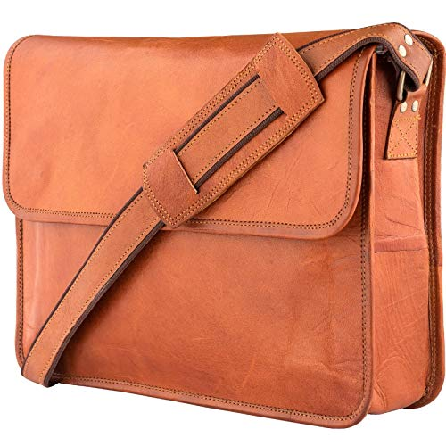 Leather Messenger Bags for Men & Women New Job for Teen Boys Laptop Shoulder Bag Office Work Executives Briefcase Cross body Fit - Flap Over Vintage...