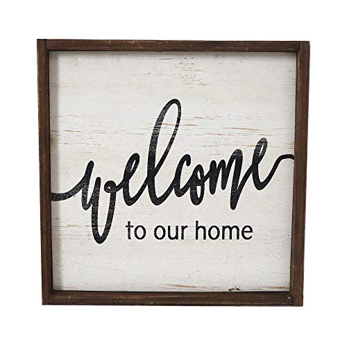 Paris Loft Rustic Wood Hanging Sign Plaque-Welcome to Our Home,15.8x15.8'' ¡­