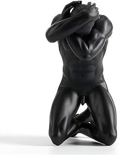 Woyqs-escultura decorativa Figuras De Hombres De Resina Modernos Europeos, Estatuas De Niño Pensativo Esculturas Resumen Personajes Africanos Coleccionables Decorativos Adornos Para Sala De Estar 12x8