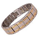 Amazheal Bio Magnetic Gold & Silver Color Adjustable Titanium Energy Health Bracelet