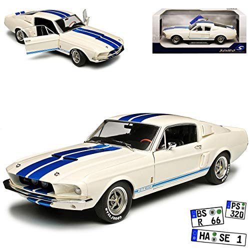 Ford Mustang Shelby GT500 1967 I 2. Generation Coupe Weiss mit Blau Streifen 1/18 Solido Modell Auto