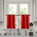 MRTREES Kitchen Tier Curtains Red 24 inch Length Cafe Curtains Room Darkening Bathroom Small Curtain Tiers Short Window Treatment Set 2 Panels Grommet Top