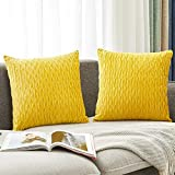 HOLLHOFF Yellow Velvet Throw Pillow Cover Decorative Striped Velvet Soft Throw Pillow Case for Couch Bed Sofa Farmhouse Home Decor Set of 2, 18 x 18 Inch (45cm)
