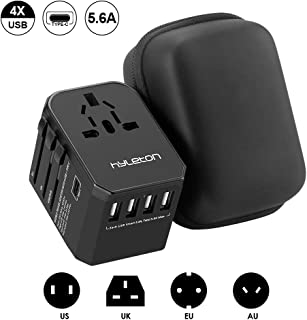 Universal Travel Adapter,4 USB Ports and 1 Type C Fast Charging International Power Adapter,Hyleton All in One Travel Plug Adapter for US, EU,UK,AU,Asia (lxc-1)