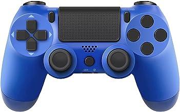 PS4 Controlador de juego inalámbrico para PS4 Mando a distancia compatible con Playstation 4 Slim Pro PC con doble vibración/auriculares estéreo Jack/Touch Pad/conexión Bluetooth y control de movimiento de seis ejes, azul