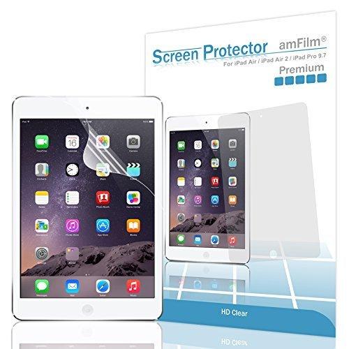 amFilm Screen Protector for iPad 9.7 (6th Gen, Pro 9.7, Air, Air 2) (2 Pack) HD Clear, Flex Film