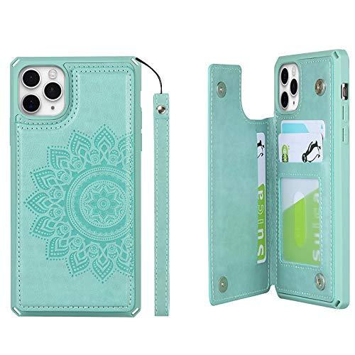 Zouzt [Bloqueo RFID ] Funda para Datura Flores iPhone 11 Pro Estuche Tipo Billetera con Correa de Mano para 3 tarjeteros Estuche Calidad, contraportada Verde