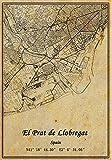 Póster de mapa de España El Prat de Llobregat con impresión en lienzo de estilo vintage sin marco, decoración de regalo 30,5 x 40,6 cm