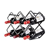 zxb-shop Almacenamiento de Botellas de Vino Metal Wine Rack Countertop Wine Rack Vinoteca Independiente Armario Decoración for el hogar (Negro) Botellero de Mesa