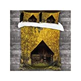Dxichy Historic a oned Building of Town Near Aspen CO,Hotel Luxury 3-Piece Bedding Set 86''x70'' Surrounded by Fall Color The Changing Yellow Trees 86''x70''