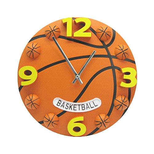 VORCOOL Horloge unique de basket-ball en forme de 12 pouces Horloge en forme de grand Silent No-ticking Horloge murale pour chambre d'enfants de salon