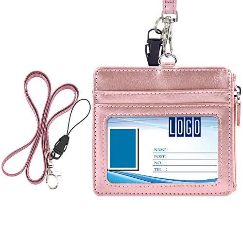 Wisdompro - Porta badge con cerniera, 4 scomparti per tessere, 1 tasca laterale con cerniera e 1 cordino da collo in poliuretano da 50,8 cm Horizontal Oro rosa