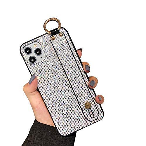 QfireQ Funda Glitter Compatible con iPhone 12/12 Pro/12 Pro Max/12 Mini Correa de muñeca de Lujo con Diamantes Brillantes y Lazo de cordón Cover de TPU Flexible Antideslizante,Blanco,12