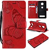 SMYTU Moto Z4 Play Wallet Phone Case,Premium Emboss Butterfly Flip Wallet Shell PU Leather Magnetic Cover Skin with Wrist Strap Case for Motorola Moto Z4 Play(B-Red)