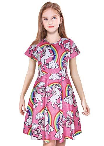 ModaIOO Vestido Casual para niñas, con Estampado de Sirena, de Dinosaurio, Manga Larga/Corta, sin Mangas, para niños - Multi Color - 4-5 años