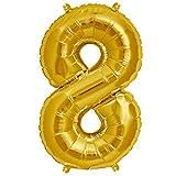ballonfritz® Globo número 8 en oro – XXL 102 cm – Globo para aire o helio como regalo de cumpleaños, aniversario, boda o graduación, decoración de fiesta o sorpresa