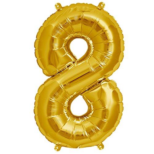 ballonfritz® Ballon Zahl 8 in Gold - XXL 40