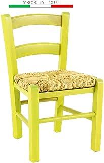 Venezia Chaise basse en bois pour enfant, pour fête, restaurant, cuisine, paille (jaune, 1)