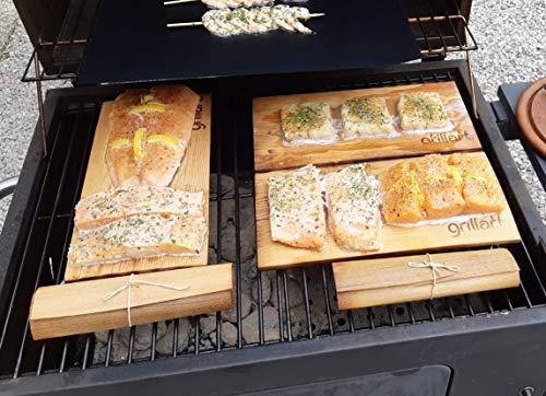514RLb2tmyL - grillart® Premium BBQ Wood Wraps - 12 Pack XL Grillpapier – Zedernholz zum Grillen – Räucherpapier aus Zedernholz für einen besonderen Grillgeschmack