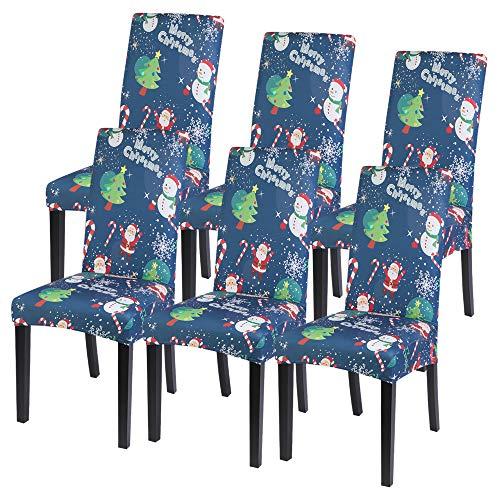 Vertvie Xmas weihnachtlich Stuhlhussen Strech Stuhlbezug Festlich Husse Dekoration Stuhlüberzug 1er 2er 4er 6er Set Universelle Passform für Weihnachten Party Esszimmer