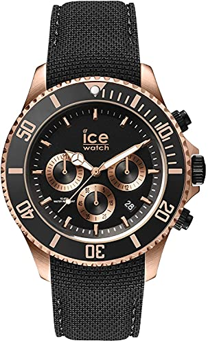 Ice-Watch Ice Steel Black Rose-Gold Chrono, Orologio Nero da Uomo con Cinturino in Silicone, Chrono, 016305, Large