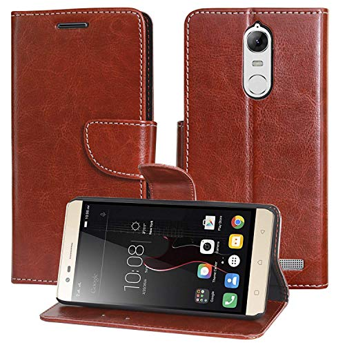 COVERNEW Leather Flip Cover for Lenovo Vibe K5 Note - A7020a48 - - Golden