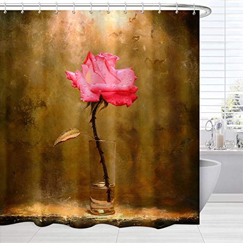 BROSHAN Vintage Shower Curtain Flower Art, Rustic Flower in Glass Brown Retro Print Fabric Bathroom Set, Polyester Fabric Waterproof Bath Shower Curtain Floral Decor Pink,72 inches