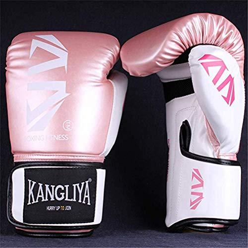 GUALA Boxhandschuhe für Thai Kickbox Training Kampf Schlags-Handschuhe Schutz Dicker Leder-Handschuhe für Jugendliche und Erwachsene Männer und Frauen -4 Größen,Rosa,10OZ