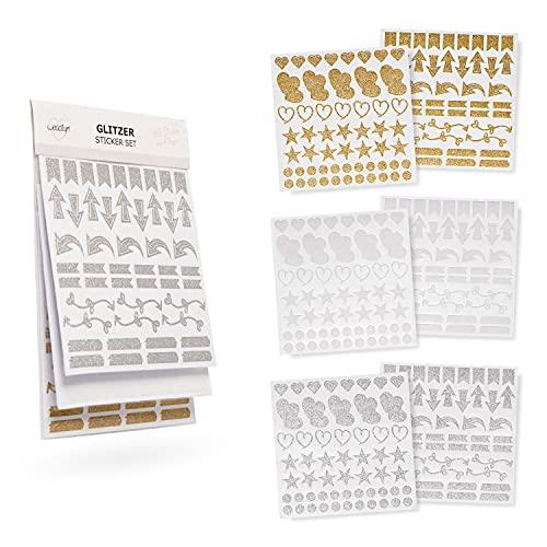 weddlyn® – Sticker in Gold Silber weiß Glitzer – Moderne Formen & Farben – Aufkleber –...