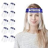 AHOTOP フェイスシールド 10枚セット フェイスガード 飛沫対策 ウイルス対策 花粉対策 防塵 透明シールド 曇り止め マスク併用 保護マスク 軽い 調整可能 男女兼用 フェイスカバー