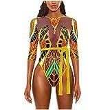 LHWY Mujer Bikini Traje de Baño Bañador De Una Pieza con Estampado Africano Sujetador Acolchado Push-Up Bañador Ropa De Playa Swimwear Tankini Trikini (Oro L
