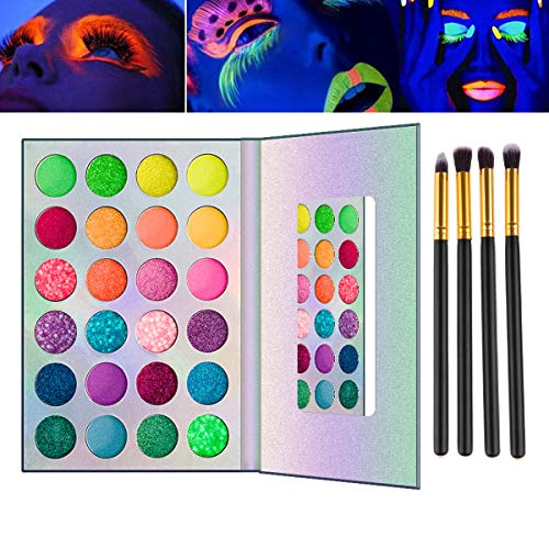 Caratumie UV Glow Blacklight Matte Glitter Eyeshadow Palette Glow Palette, 24 Colors Highly Pigmented Makeup Kit with 4 Brushes