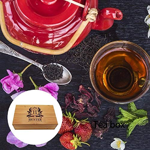 Personalized Wood Tea Storage Box Caddy Organizer Bamboo Tea Storage Holder with 5 Compartments