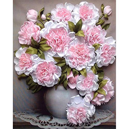 MXJSUA 5D Kit de Pintura de Diamante Cuadrado Completo DIY Taladro Imagen Arte Artesanal para decoración de Pared del hogar Adultos y niños Flores Blancas Rosas 30x40cm
