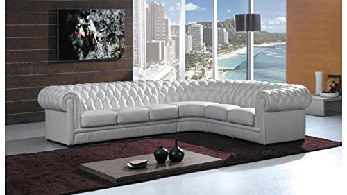 Canapé d'angle Blanc Cuir Luxe Chesterfield Confort