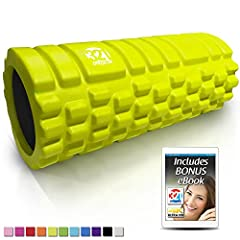 12.75 inches x 5.25 inch diameter , lightweight yet rugged solid core EVA massage roller with triple grid 3D massage zones mimics the finger , palm , and thumb of a therapist's hands . Travel friendly at just 1 lb . Medium density muscle roller is co...