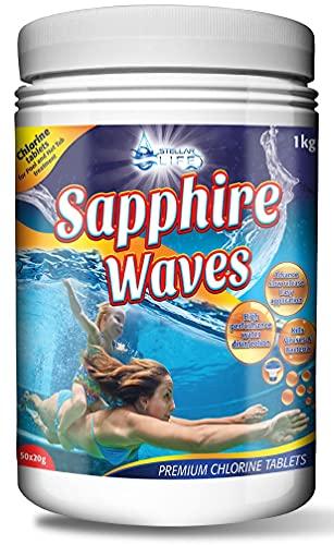 Sapphire Waves Premium Chlorine Tablets for Hot Tubs, Spa, Swimming Pools. 1Kg Tub – 50 x 20g Spas Paddling Pool Hot Tub Chlorine Tablets for use in Chemicals Floating Dispenser.