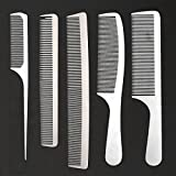 CCbeauty 5-Packs Metal Barber Comb Set Pack for Men & Women,Professional Hairdressing Salon Combs Rat Tail Teasing Hair Cutting Tool Detangler Comb with Leather Bag